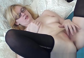 Horny Real Comme �a Coed with Perfect Tits Sure Finger Rubbing Masturbating