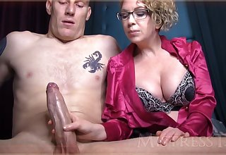 Wild grown-up girl with blondie hair and glasses is groping best part in front of the camera